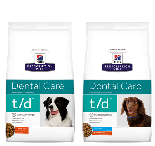 Two bags of Hills Prescription Diet dental care dog food